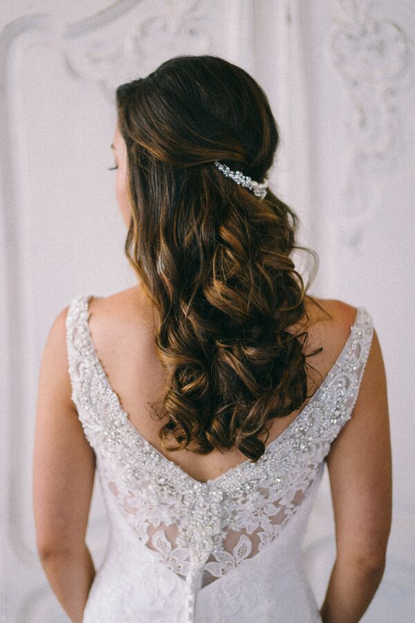 Half up wedding hairstyles romantic curled half up hairstyle junglespirit Image collections