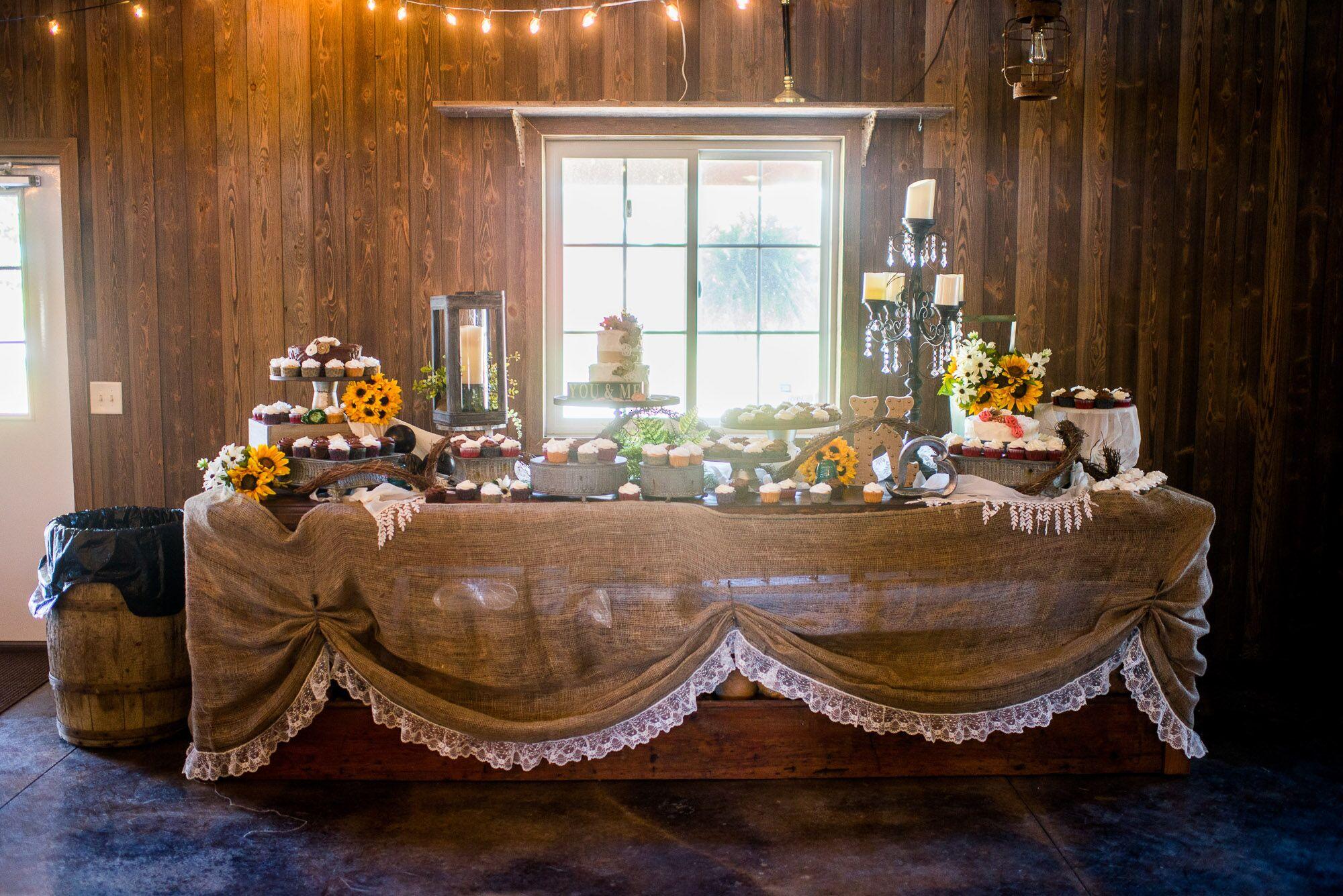 Rustic Burlap Covered Dessert Table