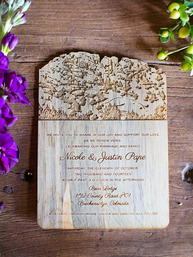 Wood wedding invitation idea