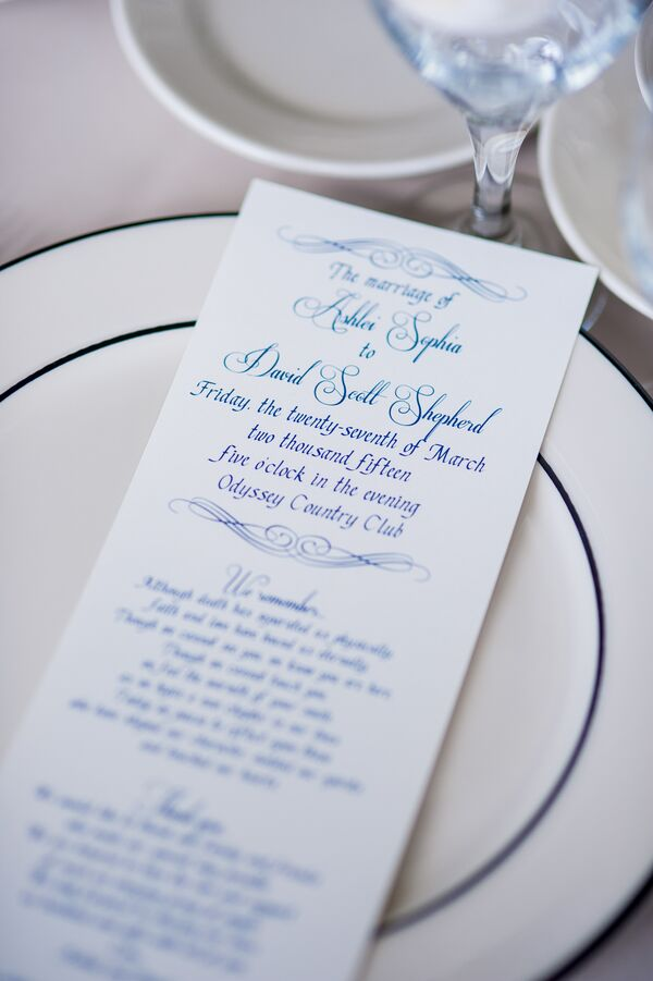 Blue and White Wedding Place Card