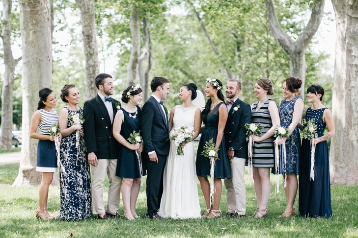 Married Couple and Navy Blue Wedding Party