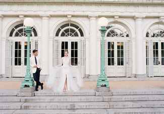 Monique Lhuillier detachable tulle skirt wedding dress | Corbin Gurkin | blog.theknot.com
