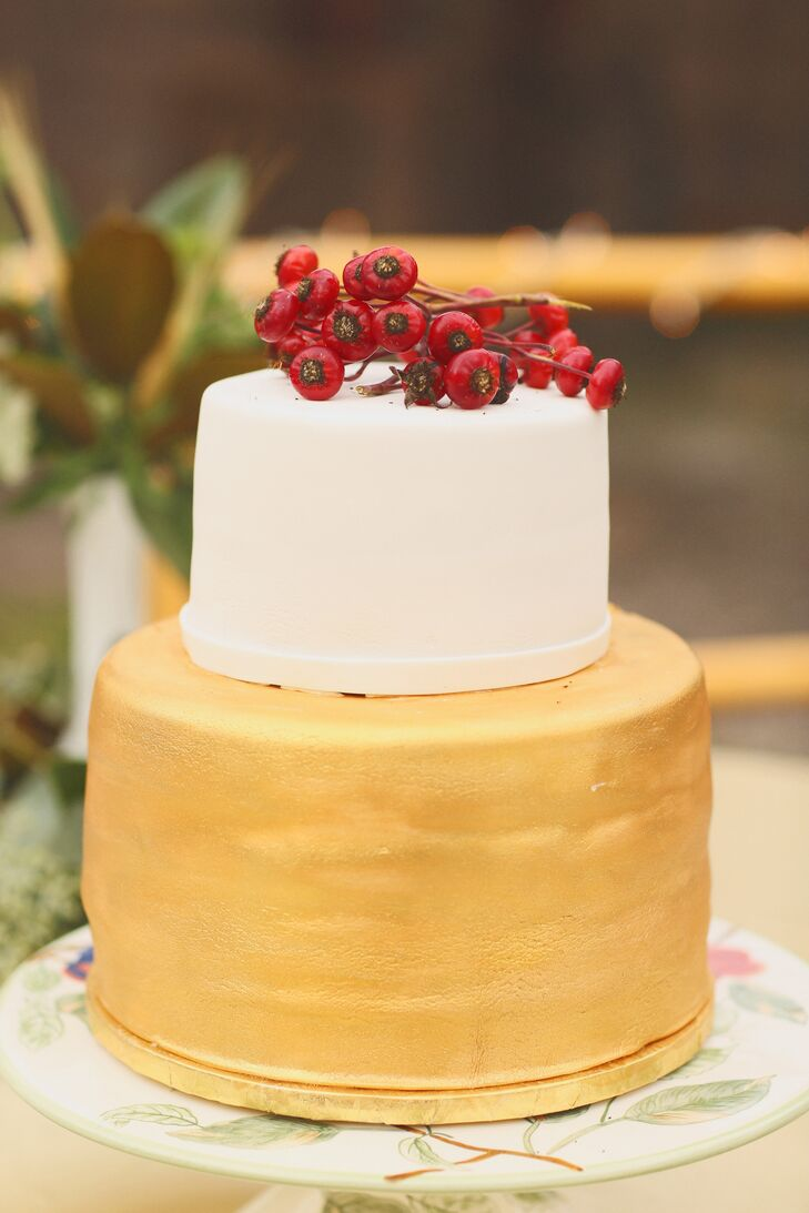 Gold and White Two-Tier Wedding Cake