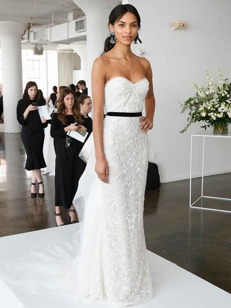 Marchesa Spring 2018 wedding gown with strapless sweetheart neckline and black sash