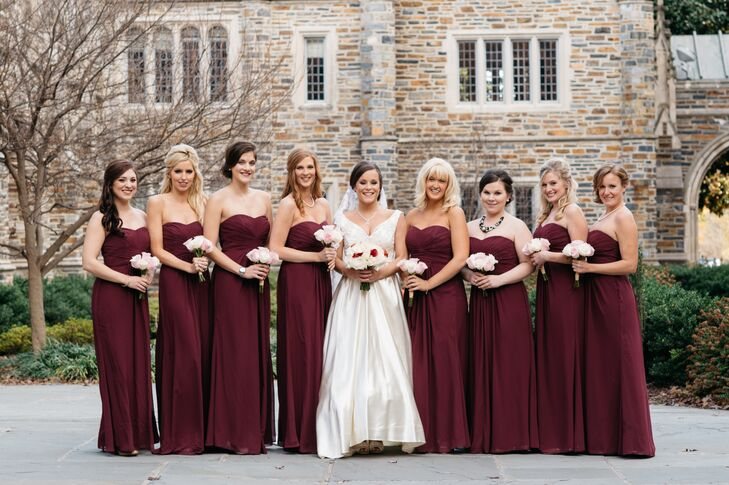 The Bridesmaids Wore Strapless Burgundy Dresses For November Wedding Kara And Pat Wanted