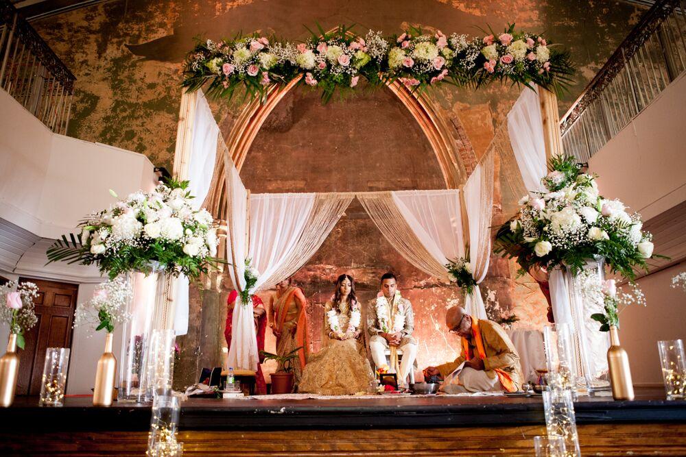 Hindu Wedding Invitations Toronto: Mandap Draped With White Fabric And Flowers