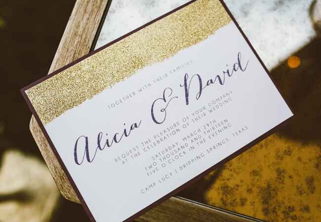 Romantic Gold Glitter Invitation | Al Gawlik Photography | blog.TheKnot.com