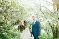 "As residents of Asheville, Abhi and Peter Haschke chose to wed in the beautiful Blue Ridge Mountains. ""Our theme was bohemian to keep with the natural"