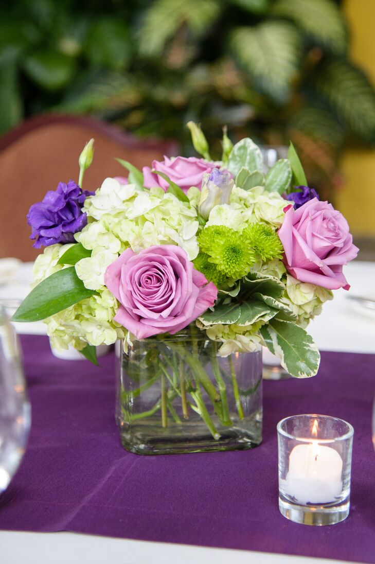 Small green ivory and purple centerpiece