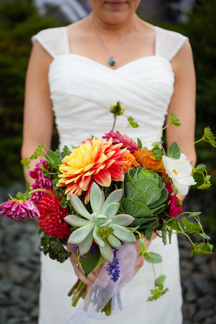 Cabbage Succulent Dahlia Bridal Bouquet