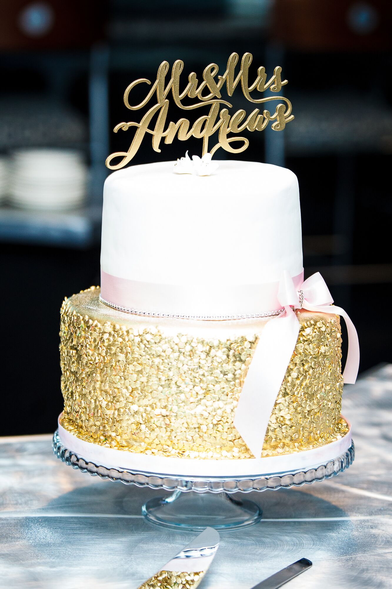 Sparkly Gold and White Wedding Cake