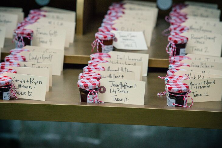 Handwritten escort cards were tied to a mixed selection of mini Bonne Maman jars of jam. The escort cards and favors were placed on a gold writers desk.