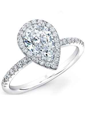 Rahaminov Forevermark pear shaped engagement ring