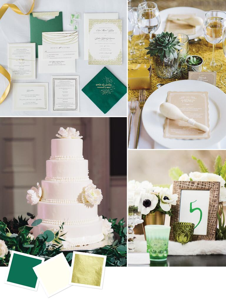 Elegant wedding color combo of emerald and gold