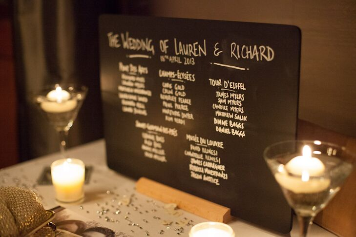 The seating chart at the reception was written on a chalkboard sign. Tables were named after landmarks in Paris.