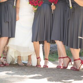 Charcoal Gray and Red Wedding Party