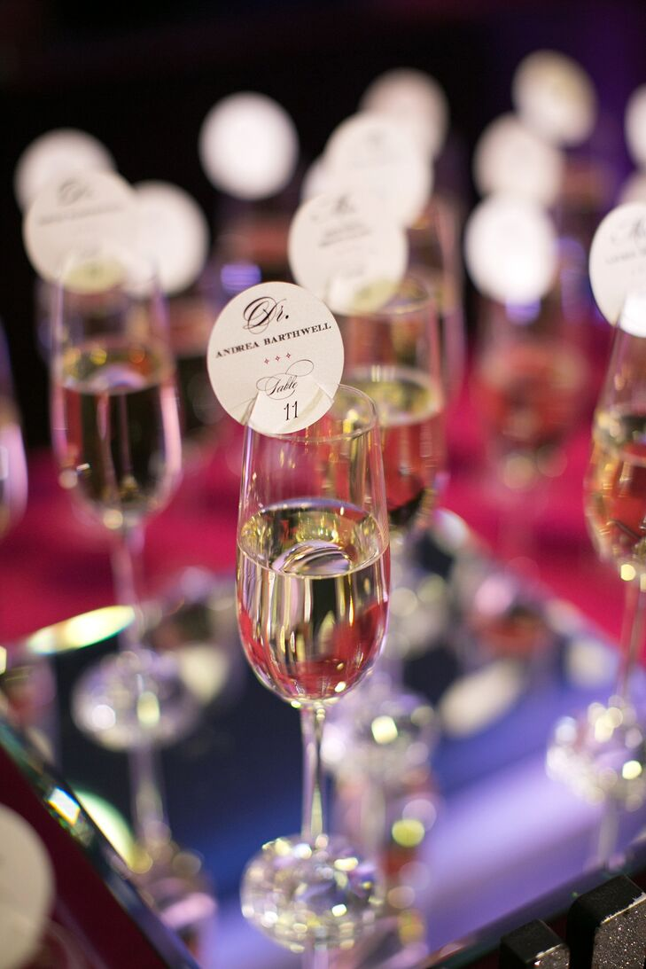 Escort Card-Accented Champagne Glasses
