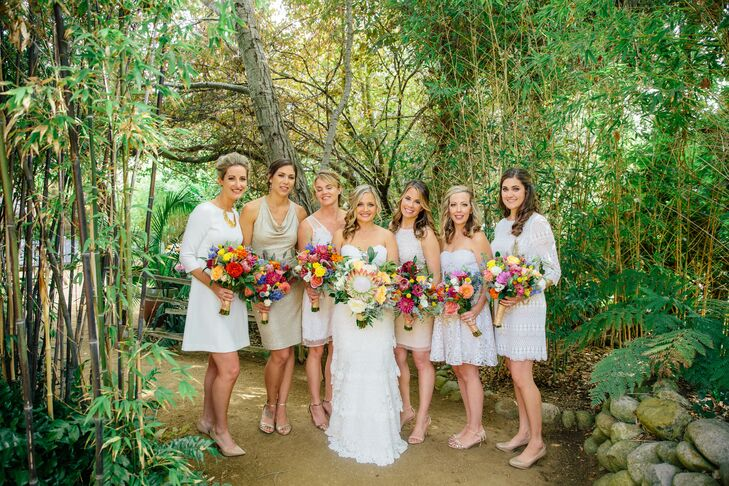 Nude Beige Short Bridesmaid Dresses Each With Their Own: A Tropical Wedding At Holly Farm In Carmel, California