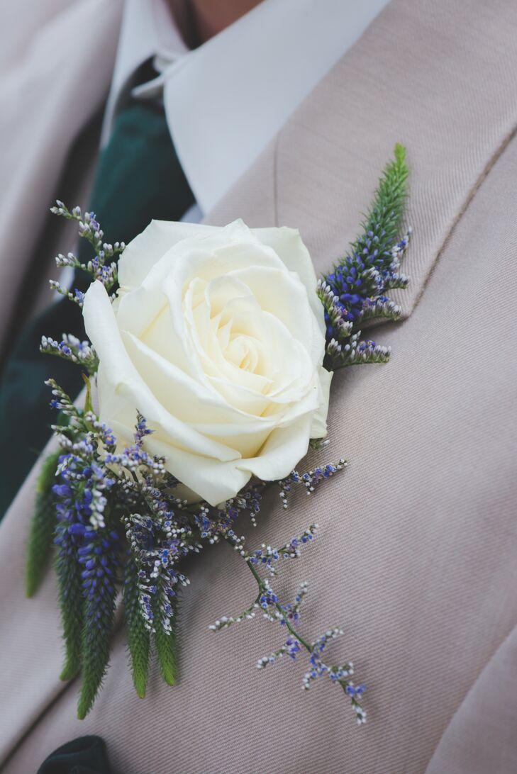 White Rose Lavender Boutonniere
