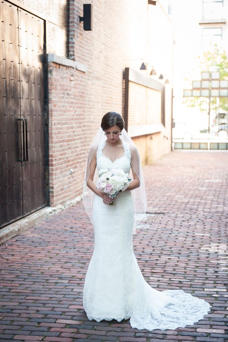 White Lace Marisa Wedding Dress with Veil