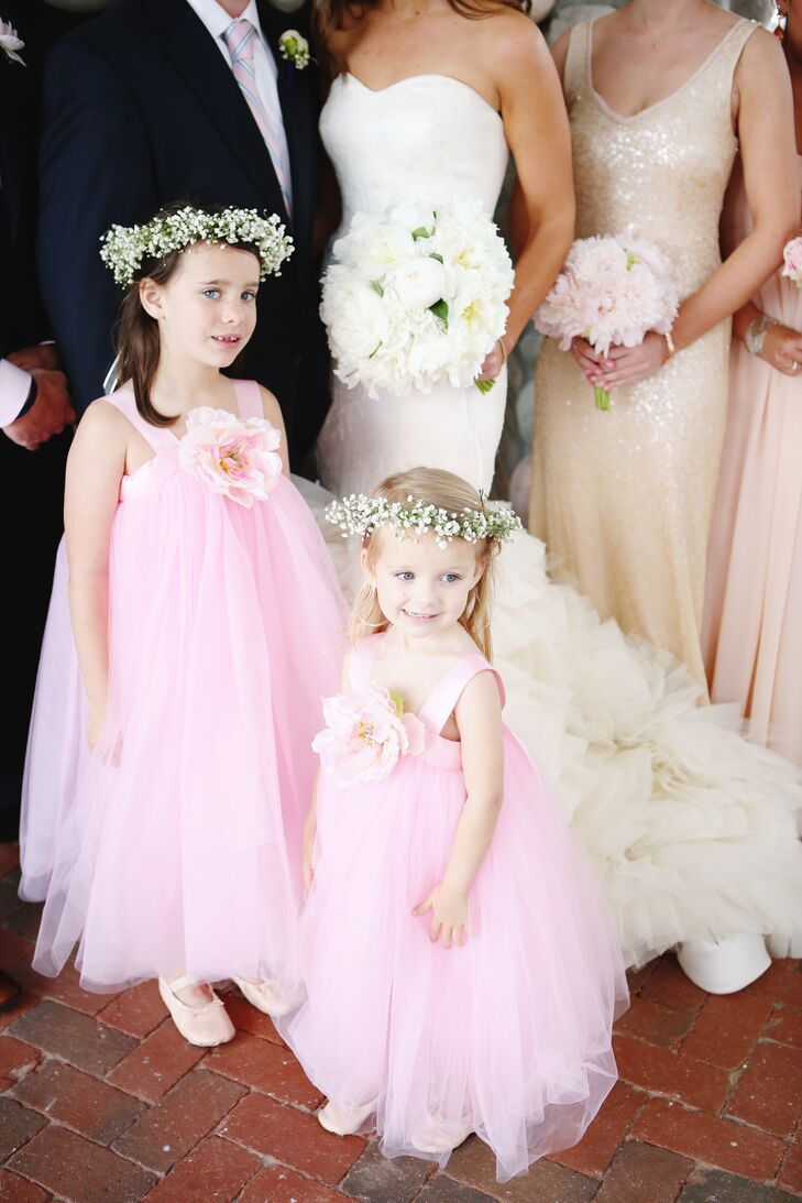Pink Tulle Flower Girl Dresses With Giant Peonies