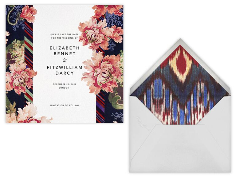Oscar De La A Save The Date Card And Envelope Liner