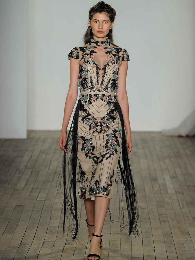 Hayley Paige Spring 2018 midnight bloom mandarin sheath Sly gown with floral embroidery and fringe