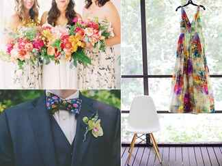 Floral print wedding dress, bridesmaids dresses and bow tie