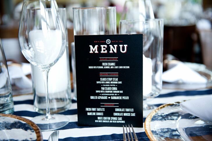 The menus were screen-printed on small chalkboards that sat atop striped runners on each table.