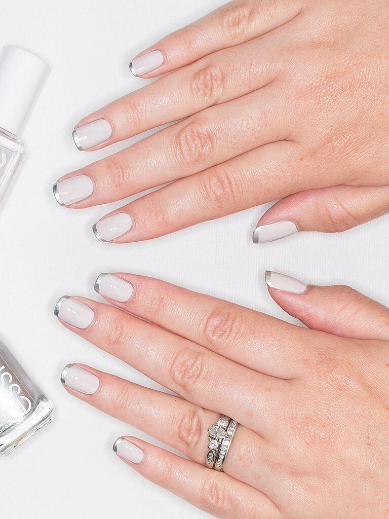 Modern French Manicure For A Wedding
