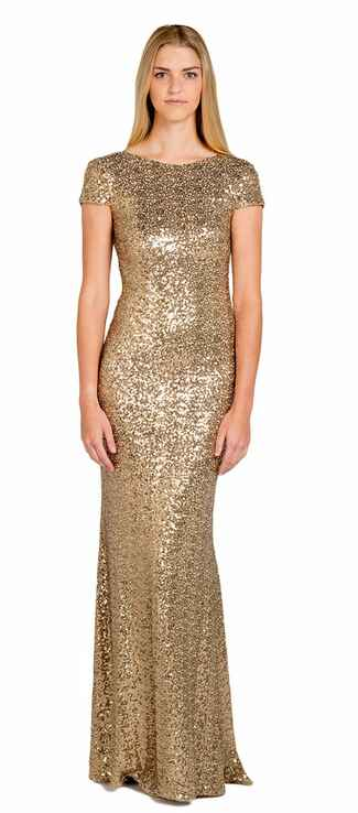 gold bridesmaid dress by Badgley Mischka