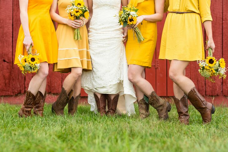 Brown and Yellow Bridesmaid Dresses with Cowboy Boots