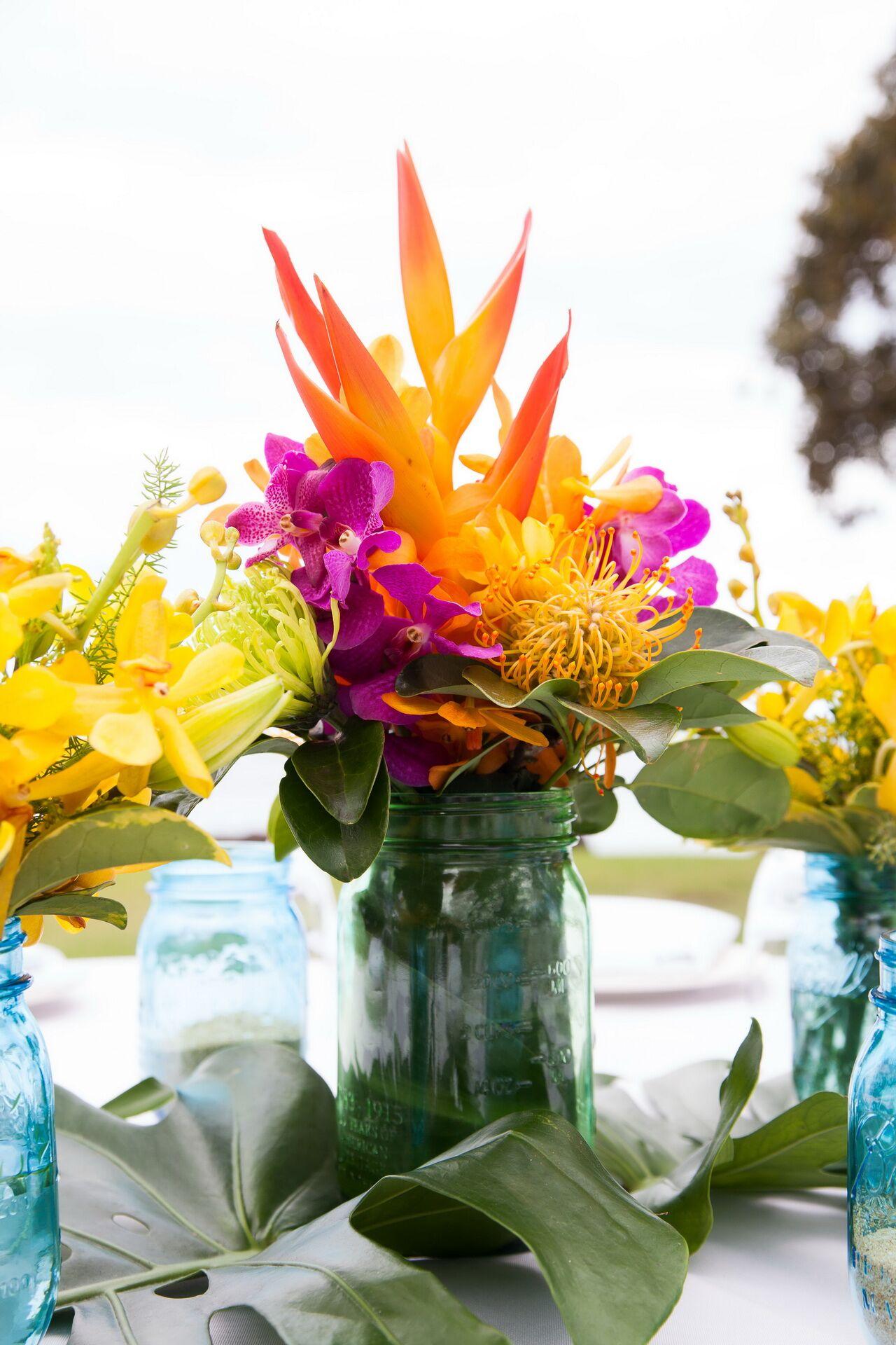 Orange And Fuchsia Centerpieces