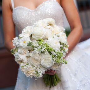 White Ranunculus Rose And Gardenia Bouquet