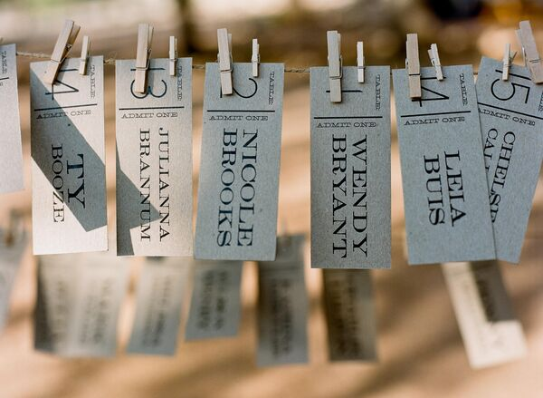 Ticket Style Escort Cards