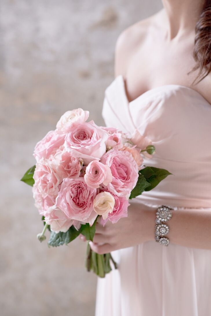 Pink Bouquet with Garden Roses and Ranunculus