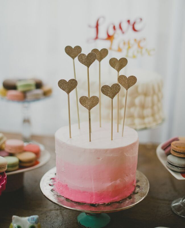 Heart Cake Topper And Single Layer Wedding Img Cl