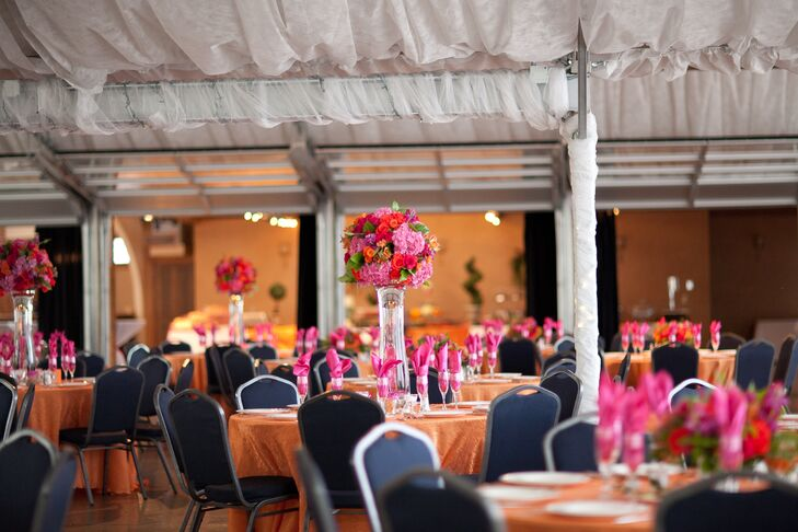 A Bright Fuchsia and Orange Reception at Brookside Gardens