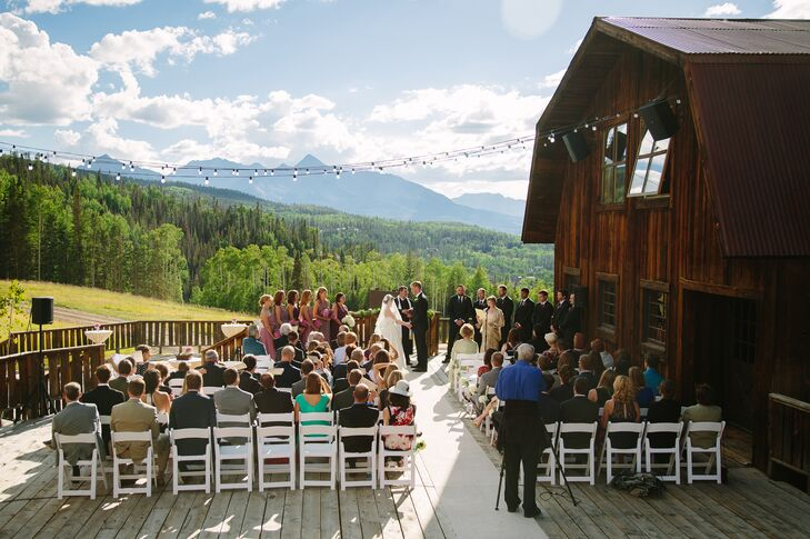 """Our wedding was at Gorrono Ranch on Telluride Mountain,"" Patty says. ""We knew we wanted to get married outside in a Colorado mountain setting, and Telluride is an incredibly special place with some of the best views anywhere. Gorrono Ranch was rustic and elegant, which was perfect for us."""