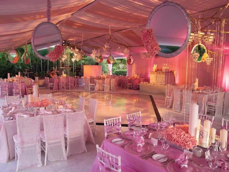 Diann Valentine's pink mirror wedding reception decor