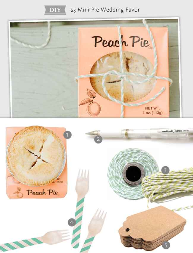 $3 Mini Pie Favor Shopping List: 1. Mini Pies: Wal-mart, $0.69 ea. 2. White Pen: Jet Pens, $2.50 3. Bakers Twine: Etsy, $3 for 15 yards (shown here in Seaweed and Honeydew) 4. Wooden Forks: Koya, $39.98 for 25 5. Kraft Paper Hang Tags: Cute Tape, $7.50 for 50