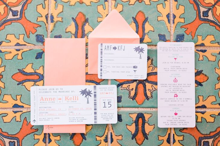 coral travel themed invitations