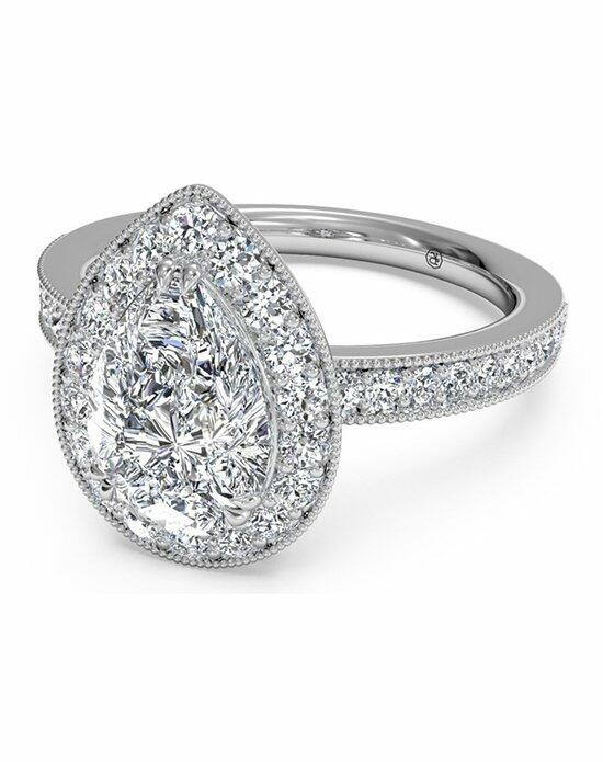 Ritani Pear Shaped Vintage Halo Diamond Engagement Ring with Surprise Diamonds In Platinum (0.40 CTW) Engagement Ring photo