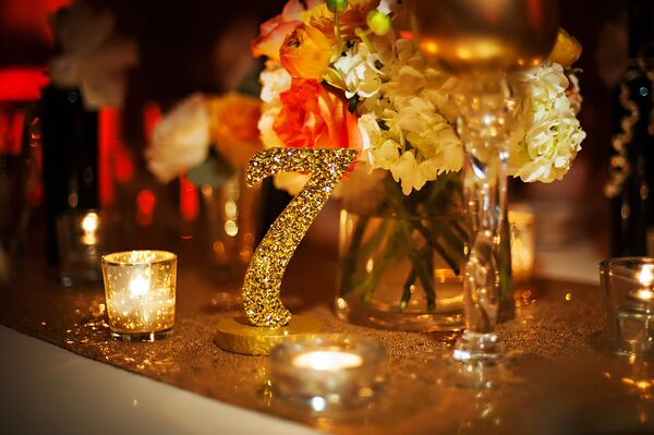 Glam Gold Glitter Table Numbers