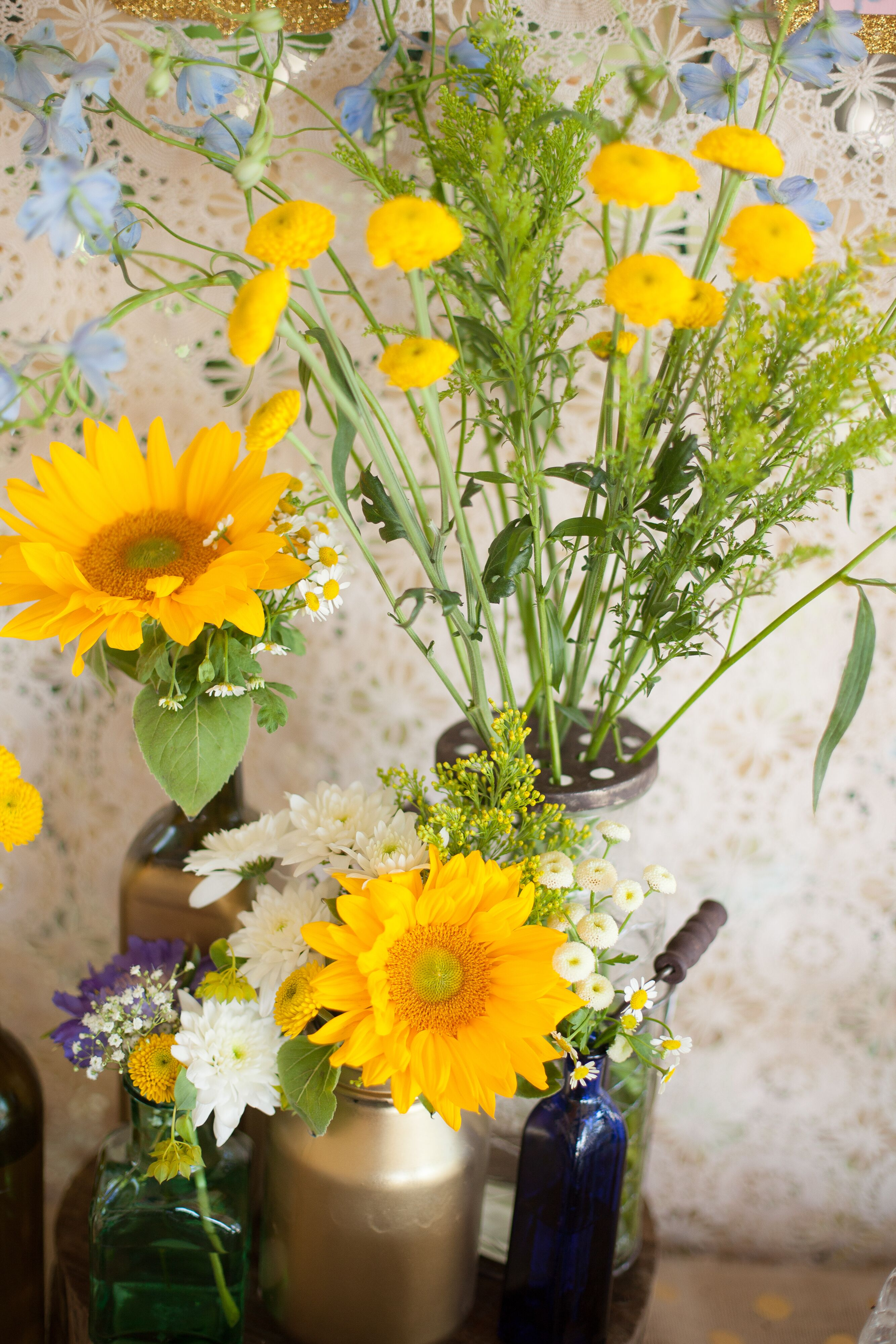 Sunflower and peony floral arrangements