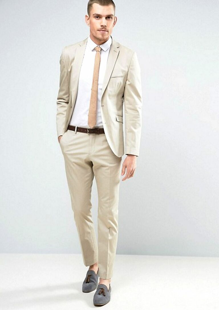 Cotton Khaki Beach Wedding Attire For Men