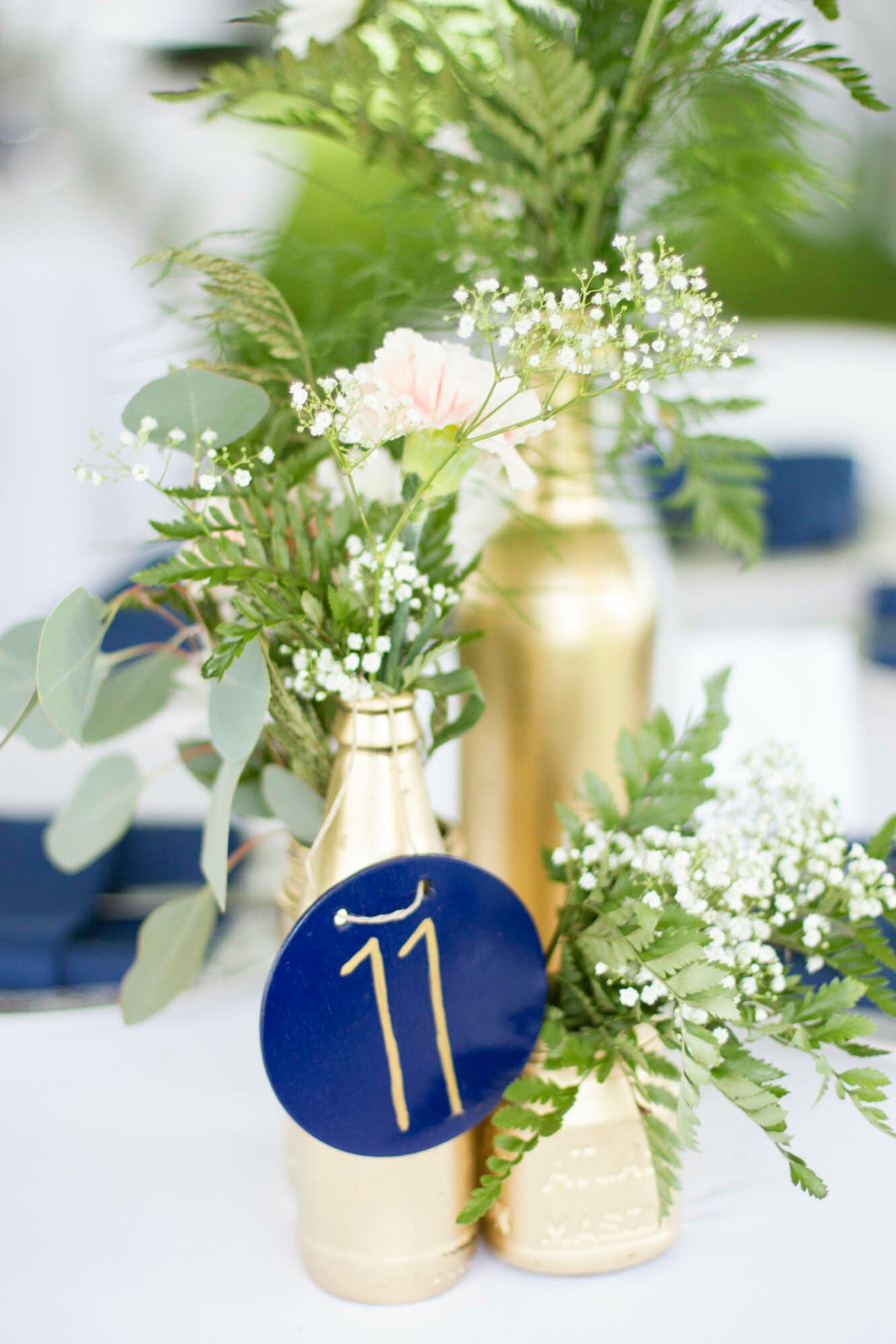 Diy navy gold and white centerpieces