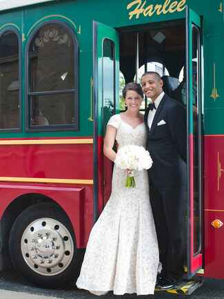 Trolley Car wedding exit