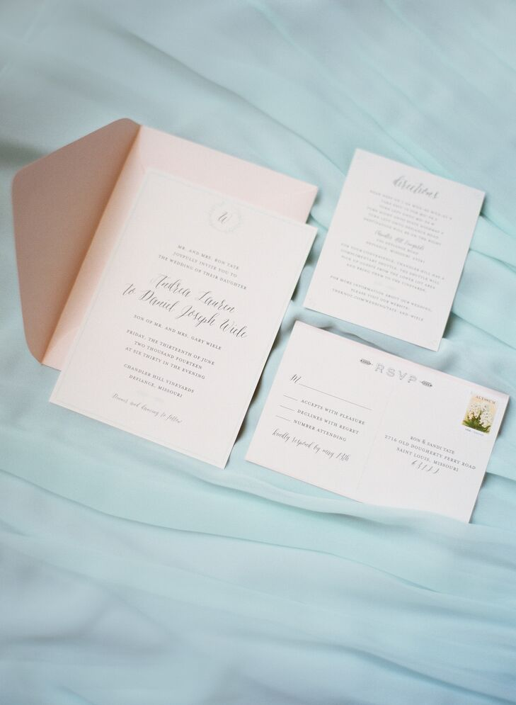 """I used my dear friend's new and growing business: Society Paper Goods,"" Andrea says. ""She created a beautiful invitation that I adore. The envelopes were blush and the invitation was ivory with mint borders and black calligraphy. We used a typeface called asterism. The font was whimsical and romantic, which I wanted."""