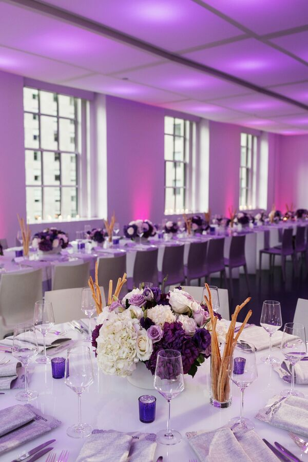 Purple And White Centerpieces